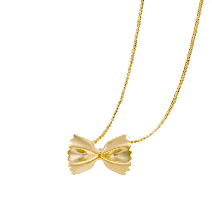 SILVERAGE Gold Tone Bow Pendant Necklace - Rose Golden