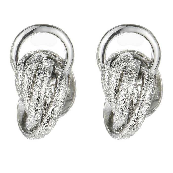 SILVERAGE Silver Tone Twisted Love Knot Drop Korvakorut