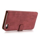 Mesh Protective PC + PU Wallet Cover Case for iPhone 7 - Red