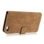 Mesh Protective PC + PU Wallet Cover Case for iPhone 7 - Brown