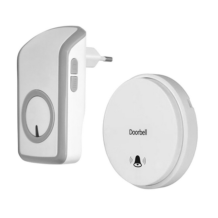 Battery-free Wireless Remote Control Doorbell - White + Grey (EU Plug)