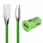 5V 1A Car Charger + Zinc Alloy Micro USB Charging Cable (90cm) - Green