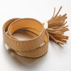 SILVERAGE Brown Tassel Leather Bracelet