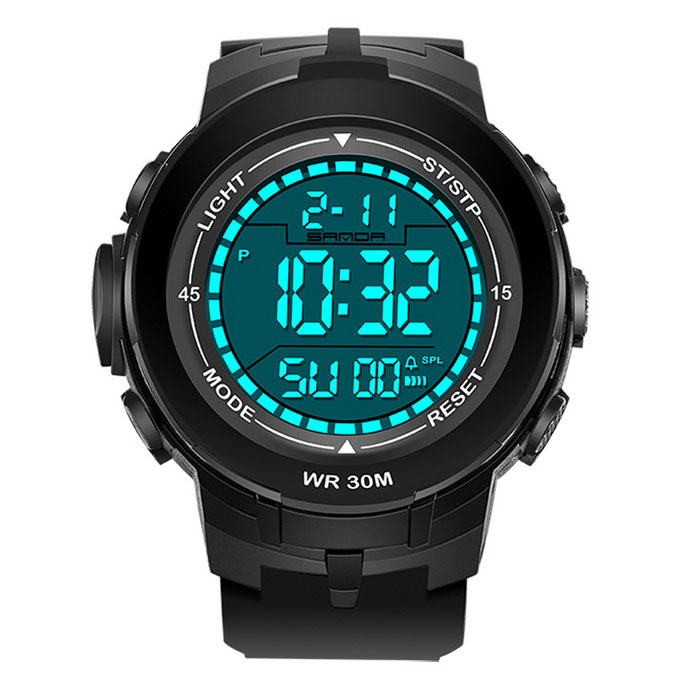 SANDA Big Dial Multi-functional Sports Watch - Black + White