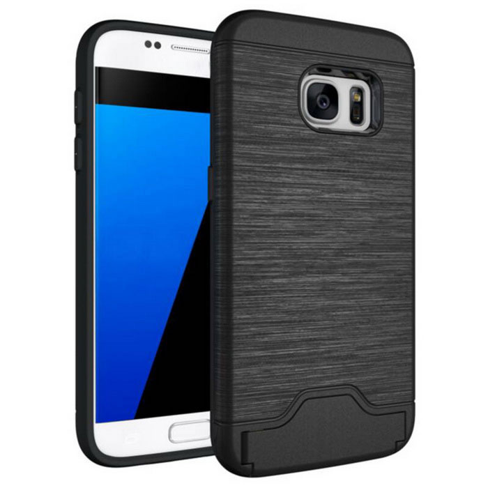 Protection Back Case w/ Card Slots for Samsung Galaxy S7 - Black