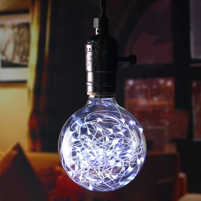 HESSION E27 Vintage Globe Edison Bulbs LED String Light Cold WhiteE27<br>Color BINCool whiteMaterialGlassForm  ColorTransparentQuantity4 DX.PCM.Model.AttributeModel.UnitPower3WRated VoltageOthers,110~240 DX.PCM.Model.AttributeModel.UnitConnector TypeE27Emitter TypeLEDTotal Emitters32Actual Lumens180 DX.PCM.Model.AttributeModel.UnitColor Temperature6000KDimmableNoBeam Angle360 DX.PCM.Model.AttributeModel.UnitPacking List4 * Vintage LED String Light Bulbs<br>