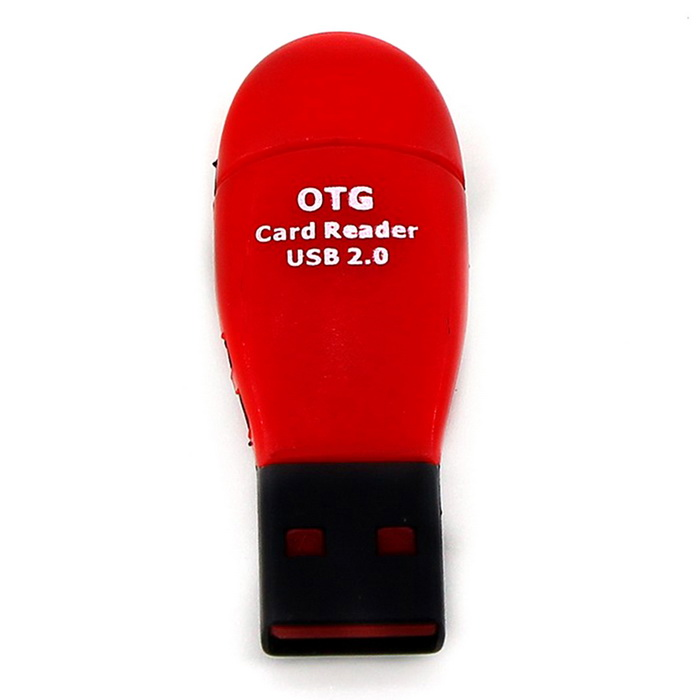 Mini Micro USB to OTG Card Reader USB 2.0 - Black + Dark Red
