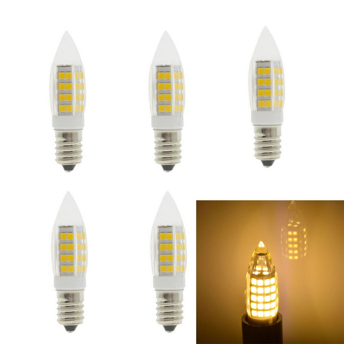 JRLED E14 5W 51-2835 SMD LED Warm White Ceramic Bulbs (AC 220V/5PCS)