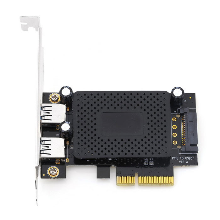 PCI-E-USB3.1-2A PCI Express to Dual Port USB 3.1 Adapter CardForm  ColorBlack + SilverModelUSB3.1-2AQuantity1 DX.PCM.Model.AttributeModel.UnitMaterialElectronic ComponentSupports SystemOthers,Win 10-32/64Packing List1 * USB3.1-2A PCI-E Expansion Card1 * CD1 * Small Comb<br>
