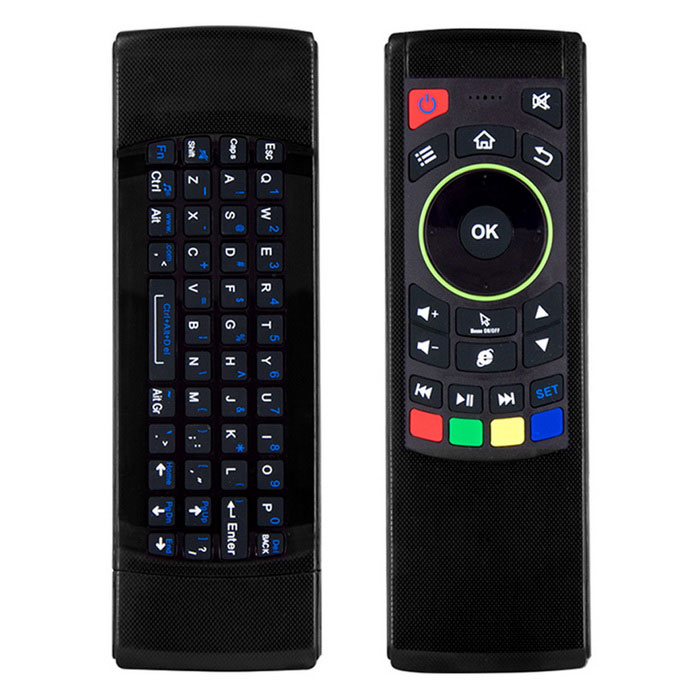 Kitbon FM5S 2.4G 6-axis Gyro Wireless Air Mouse Remote ControllerWireless Keyboards<br>Form  ColorBlackMaterialABS + SiliconeQuantity1 DX.PCM.Model.AttributeModel.UnitInterfaceUSB 2.0Wireless or Wired2.4G WirelessBluetooth VersionNoCompatible BrandAPPLE,Dell,HP,Toshiba,Acer,Lenovo,Samsung,MSI,Sony,IBM,Asus,Thinkpad,Huawei,GoogleAxis6Tracking MethodGyroscopeBack-litNoOperation Distance10 DX.PCM.Model.AttributeModel.UnitAnti-ghosting Key69Multi-media KeyIR LearningPowered ByAAA BatteryBattery included or notNoCharging Time- DX.PCM.Model.AttributeModel.UnitWaterproofNoTypeAir mouse &amp; KeyboardSupports SystemWin xp,Win 2000,Win 2008,Win vista,Win7 32,Win7 64,Win8 32,Win8 64,MAC OS X,IOS,Linux,Android 2.x,Android 4.xPacking List1 * Air mouse1 * USB receiver<br>