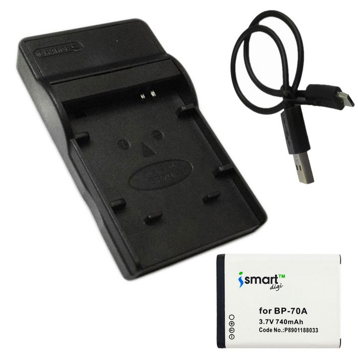 ismartdigi 70A 740mAh Battery + Micro USB Mobile Charger - White+Black