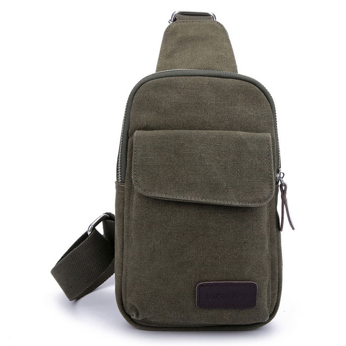 LOCAL LION 1319 Classic Fashion Canvas Chest Bag - Army Green (2.5L)