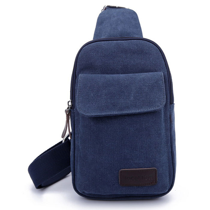 LOCAL LION 1319 Classic Fashion Canvas Chest Bag - Blue (2.5L)