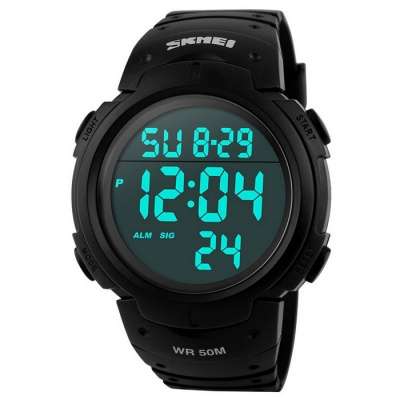 Skmei 1068 Waterproof Men's Digital LED Sports Wrist Watch - Black