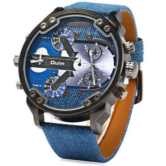 OULM HP3548 Men's Military Sports Multiple Time Zone Watch - Blue
