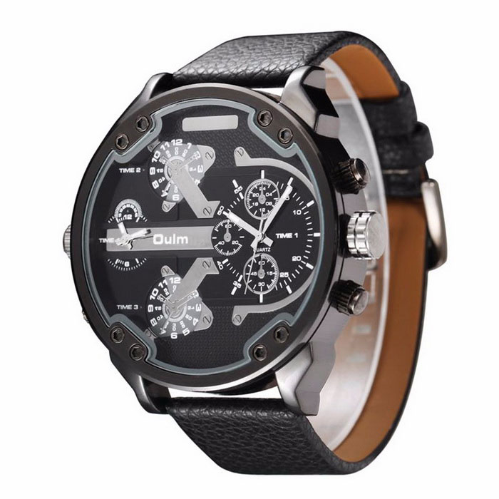 OULM HP3548 Men's Military Sports Multiple Time Zone Watch - Black