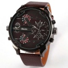OULM HP3548 Men's Military Sports Multiple Time Zone Watch - Brown