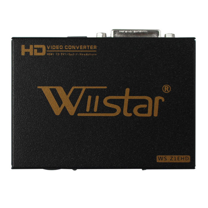 Wiistar WS_Z1EHD HDMI to DVI Audio Video Converter Box Adapter - BlackOther Accessories<br>Form ColorBlack + MulticolorModelWS_Z1EHDQuantity1 DX.PCM.Model.AttributeModel.UnitMaterialAluminium alloyCertificationce,fccOther Features1.Input ports:1 * HDMI.<br>2.Output ports:1 * DVI;1 * 3.5mm Headphone;1 * Optical fiber   <br>3.HDMI Input Resolution:480P/I60,576P/I50,720P50/P60,1080I50/I60,1080P50,1080P60.<br>4.DVI output:480P60/480I60,576P50/576I50,   720P50/P60,1080I50/I60, 1080P50,1080P60.<br>5.Headphone output: PCM<br>6.Optical fiber output: DTS,AC3,PCM,LPCM,etcPacking List1 * Converter1 * EU power adapter( length:100cm)1 * English User manual<br>