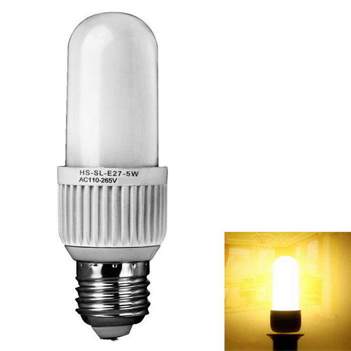 E27 5W Corn Lamp Stick Warm White 24-SMD 4014 LED (AC 110-265V)E27<br>Color BINWarm WhiteMaterialAluminum alloy + flame retardant PCForm  ColorWhite + MulticolorQuantity1 DX.PCM.Model.AttributeModel.UnitPower5WRated VoltageOthers,AC110-265 DX.PCM.Model.AttributeModel.UnitConnector TypeE27Chip Type4014 SMDEmitter TypeOthers,4014 SMDTotal Emitters24Theoretical Lumens600 DX.PCM.Model.AttributeModel.UnitActual Lumens450 DX.PCM.Model.AttributeModel.UnitColor Temperature3000KDimmableNoBeam Angle360 DX.PCM.Model.AttributeModel.UnitWavelengthN/ACertificationCE ROHSOther FeaturesLow consumption, high brightness.<br>Energy-saving and environmentally friendly, is conducive to recycling.<br>Low heat generating, no UV or IR light radiation.<br>Seismic, impact resistance, non-thermal radiation, safe and stable, reliable<br>Suitable for home, office and exhibition lighting<br>Very low heat generating, besides saving light power<br>It has a long lifespan, no hazardous materials.<br>Instant start, have flashing. solid state, shockproof.<br>Save power more than ordinary bulbs.<br>Made of high quality materials.Packing List1 * E27 bright LED light stick<br>