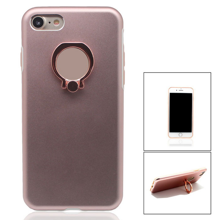 Aluminium Alloy Back Case w/ Holder Ring for IPHONE 7 - Rose Gold