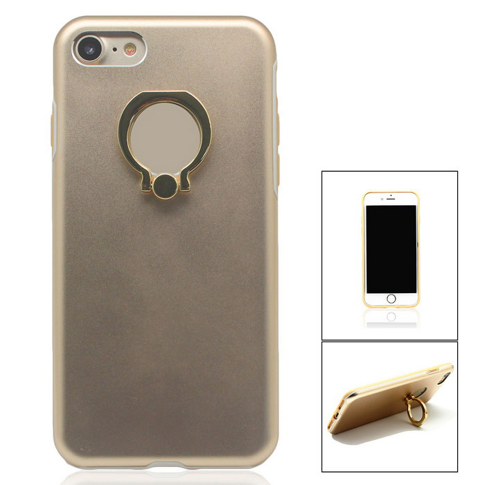 Aluminium Alloy Back Case w/ Holder Ring for IPHONE 7 - Gold