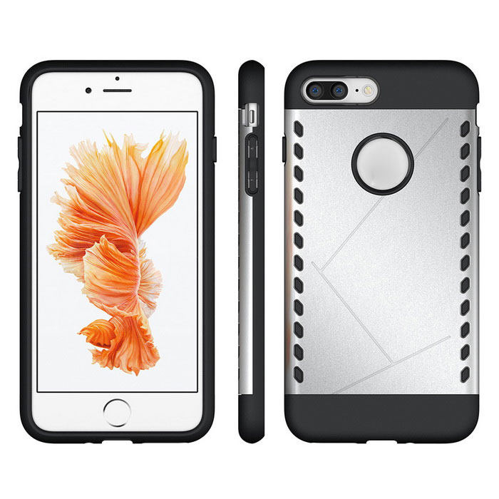 Funda protectora de PC de nuevo para IPHONE 7 plus - plata + negro