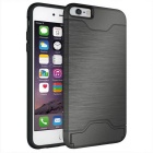 Protective Wiredrawing Back Case w/ Card Slots for IPHONE 6 Plus -Grey