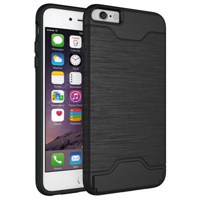 Protective Wiredrawing Back Case w/ Card Slots for IPHONE 6/6S Plus