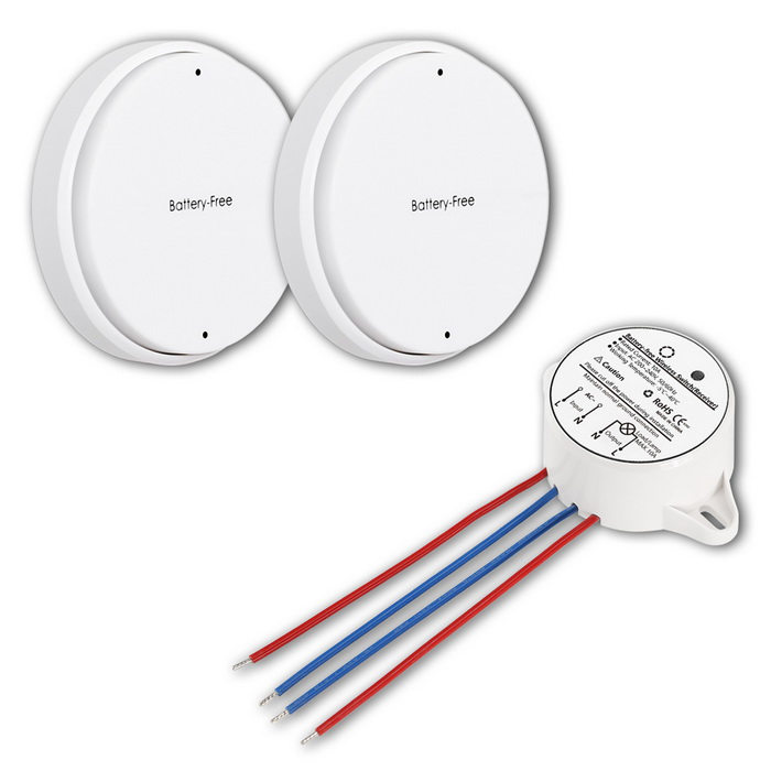 Battery-free 2-Way Wireless Waterproof Remote Control Switches - White