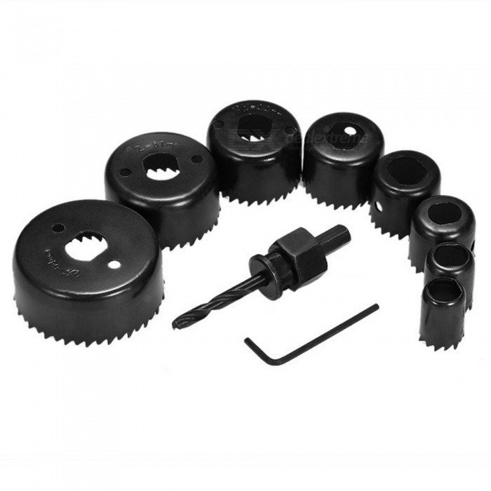 11pcs Hole Saw Kit Wood Metal Cutting Drilling Tools Set (19~64mm)ModelN/AQuantity1 DX.PCM.Model.AttributeModel.UnitForm ColorBlackMaterialCarbon SteelDiameter19mm / 22mm / 29mm / 32mm / 38mm / 44mm / 51mm / 64mm DX.PCM.Model.AttributeModel.UnitPacking List8 * Hole Saws (19mm / 22mm / 29mm / 32mm / 38mm / 44mm / 51mm / 64mm)2 * Rods1 * Wrench<br>