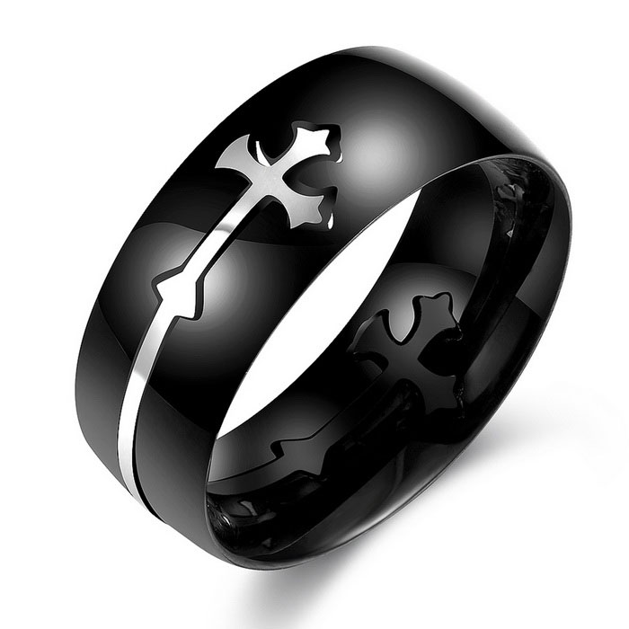 Titanium Steel Fashion Cross Decoration Ring (US