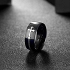 R022-9 Fashion Men's Cross Pattern Ring - Black + Silvery White