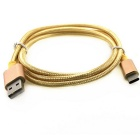 USB 3.1 Type-C to USB 2.0 Nylon Braided Data Cable - Golden (102CM)