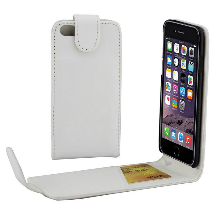 Top-Flip Open PU Leather Case w/ Card Slots for IPHONE 7 - White