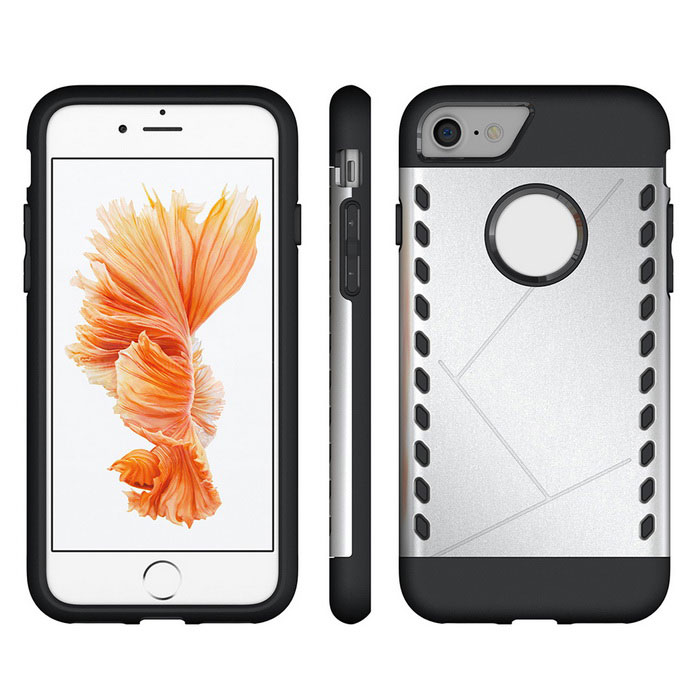 Protective PC Back Case for IPHONE 7 - Silver + BlackPlastic Cases<br>Form  ColorSilver + blackModelN/AMaterialPCQuantity1 DX.PCM.Model.AttributeModel.UnitShade Of ColorSilverCompatible ModelsIPHONE 7FeaturesDust-proof,Shock-proof,Abrasion resistance,Easy-to-removePacking List1 * Case<br>