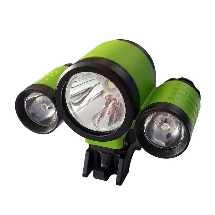 New Style 3-LED Water Resistant 4-Mode Neutral White LED Bike LightBike Lights<br>Form ColorGreen + Black + Multi-ColoredModel1156AQuantity1 DX.PCM.Model.AttributeModel.UnitMaterialPlastic shellEmitter BrandCreeLED TypeXM-LEmitter BINT6Number of Emitters3Color BINNeutral WhiteWorking Voltage   4.2 DX.PCM.Model.AttributeModel.UnitPower Supply4x18650 BatteryCurrent0.6 DX.PCM.Model.AttributeModel.UnitTheoretical Lumens3000 DX.PCM.Model.AttributeModel.UnitActual Lumens2400 DX.PCM.Model.AttributeModel.UnitRuntime3 DX.PCM.Model.AttributeModel.UnitNumber of Modes4Mode ArrangementHi,Mid,Low,Slow StrobeMode MemoryNoSwitch TypeReverse clickyLensGlassReflectorNoFlashlight MountingHandlebar,Handlebar and HelmetSwitch LocationTailcapBeam Range300 DX.PCM.Model.AttributeModel.UnitOther FeaturesAC 100~240V  US charger(length:60cm)Packing List1 * Bike Light1 * Battery pack1 * Fixed mount2 * Rubber O-rings1 * USB Adapter(for Mobile Charging,length:20cm)1 * AC 100~240V  US charger(length:60cm) 1 * Adjustable head mount band<br>