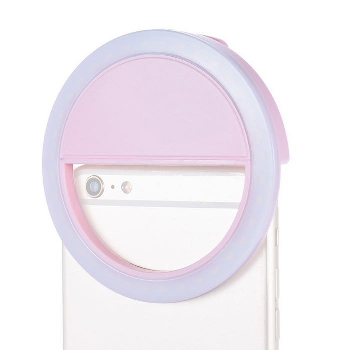 Outdoor 3W Selfie Photographing Clip-on Fill Light - White + Pink