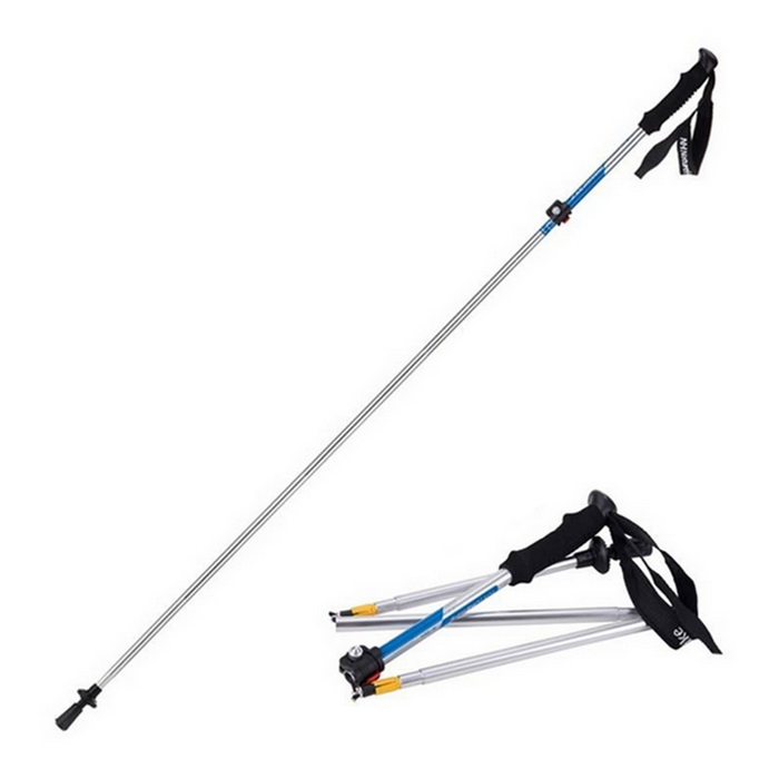 NatureHike 5-Section Folding Alpenstock w/ Strap - Blue + Silver