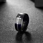R022-8 Fashion Men's Cross Pattern Ring - Black + Silvery White