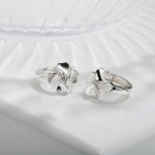 SILVERAGE Sterling Silver Flowers Stud Earrings - Silver (Pair)