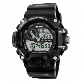 SKMEI 1029 Men's Quartz Digital Dual Time Sports Watch - Black