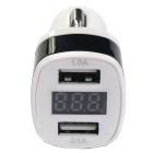Dual USB 12-24V 3.1A Car Charger w/ Voltage Display - Black + White