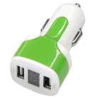 Dual USB 12-24V 3.1A Car Charger w/ Voltage Display - Green + White