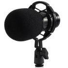 Condenser Sound Recording Microphone with Shock Mount - Black