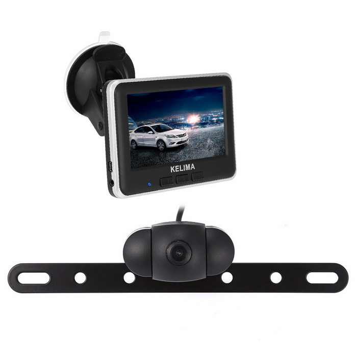 KELIMA 006 Wireless Car Rear View Camera + 4.3 Color LCD SetCar Monitors<br>Form  ColorBlack + SilverModelKELIMA-006Quantity1 DX.PCM.Model.AttributeModel.UnitMaterialABSStyleSun VisorScreen Size4.3 inchesScreen Resolution640x480Touch Screen TypeNoDetachable PanelYesBrightness ControlYesMenu LanguageOthers,NOFunctionBuilt-in speakerVideo SystemPAL,NTSCAudio Input1 channelVideo Input2 channelsInterface/PortAV INHeadphone JackOthers,NOExternal Memory Max. SupportNo DX.PCM.Model.AttributeModel.UnitPower Consumption2.5WWorking Voltage   DC 12-24 DX.PCM.Model.AttributeModel.UnitWorking Temperature-30-80 DX.PCM.Model.AttributeModel.UnitStorage Temperature-20-70Other FeaturesKelima4.3 inch m wireless vehicular display + license plate cameras black + silver (electronic scale line) Plug and play/wireless connections Wireless connection from 15 to 20 meters image selection / 16;9 24 v 1 a power supply DC12 - voltage power supply system/whole rule (PAL/NTSC) working temperature - 20-70  temperature / - 10 to 60  power;About 2.5 W 640 x480 pixels is equipped with multi-function up chuck bracket Display with a / 24 hours time date ip67ip68 waterproof level is used for outdoor and on rainy days Is easy to install and use standard sensors, CMOS high photosensitive wireless chip 0707, image color, high-definition, more vivid visual Angle 120 ° large visual range, reversing safety belt astern reference line (electronic scale line), obstacle distance be clear at a glance Digital photographic processing chip, multi-layer waterproof design using cars/trucks, trucks, buses, forklifts, harvester, vans, fire engines, yutong bus, jinlong passenger cars, car, lifting transporter, wharf forklift, truck, garbage truck, oil tank truck, concrete truck, trailer, bus, coach, etcPacking List1 * 4.3 -inch display1 * Rear camera (cable length 140cm)1 * Car charger (cable length 150cm)1 * Stent1 * English manual<br>