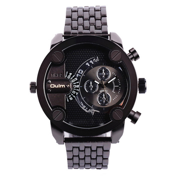 Oulm Men's Analog Watch w/ Double movt�� Round Dial�� Steel Watch Band