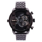 Oulm Men's Analog Watch w/ Double movt, Round Dial, Steel Watch Band