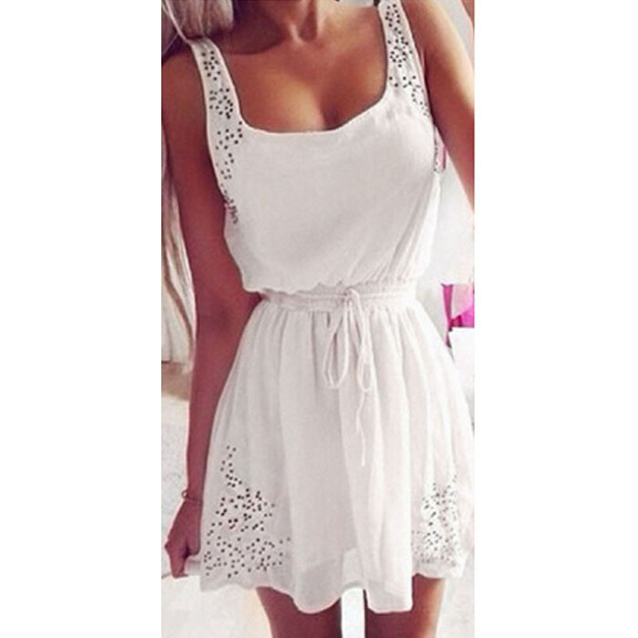 Fashion Lightweight Chiffon Dress - White (L)