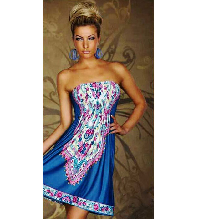 Women's Fashionable Strapless Dress - Blue + Pink + Multicolor