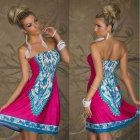 Women's Fashion Strapless Dress - Red + Blue + Multi-color